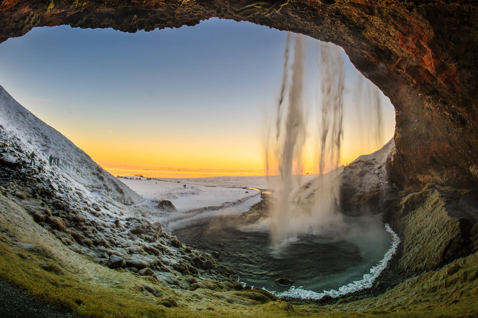 The-official-photographers-Iceland-walk behind-waterfall-Seljalandsfoss-sunset