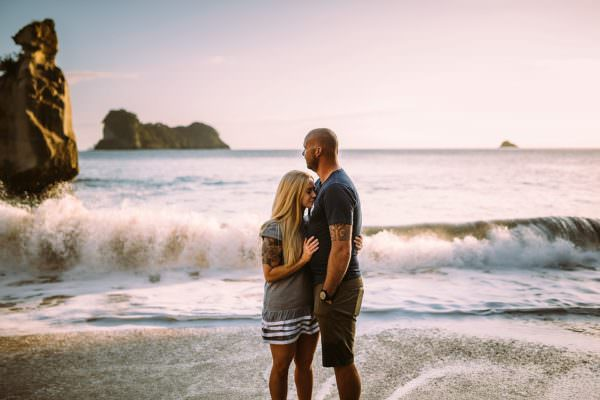 Zeta & Quentin Cathedral Cove Sunrise Engagement