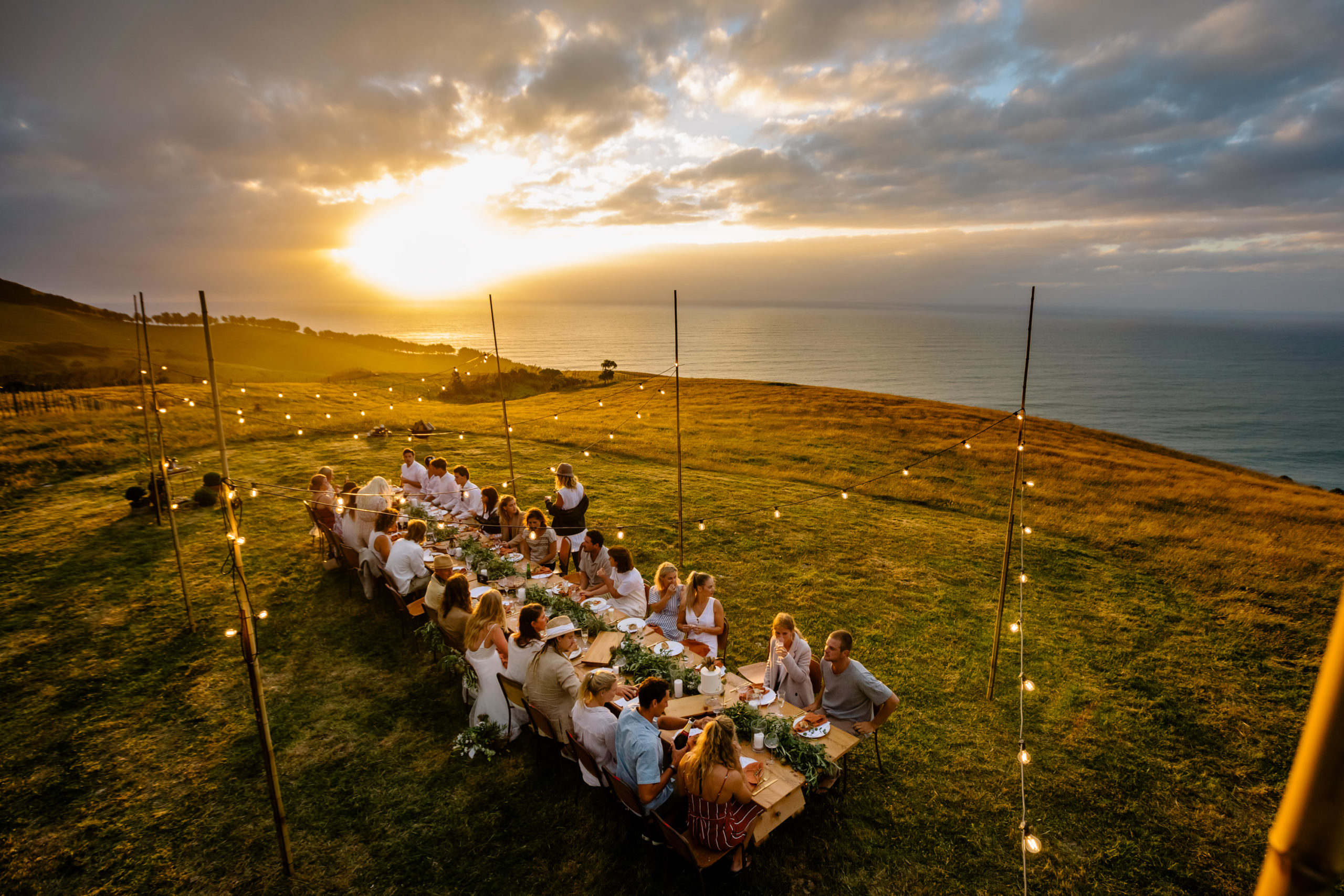 Outdoor wedding reception Raglan wedding photographers
