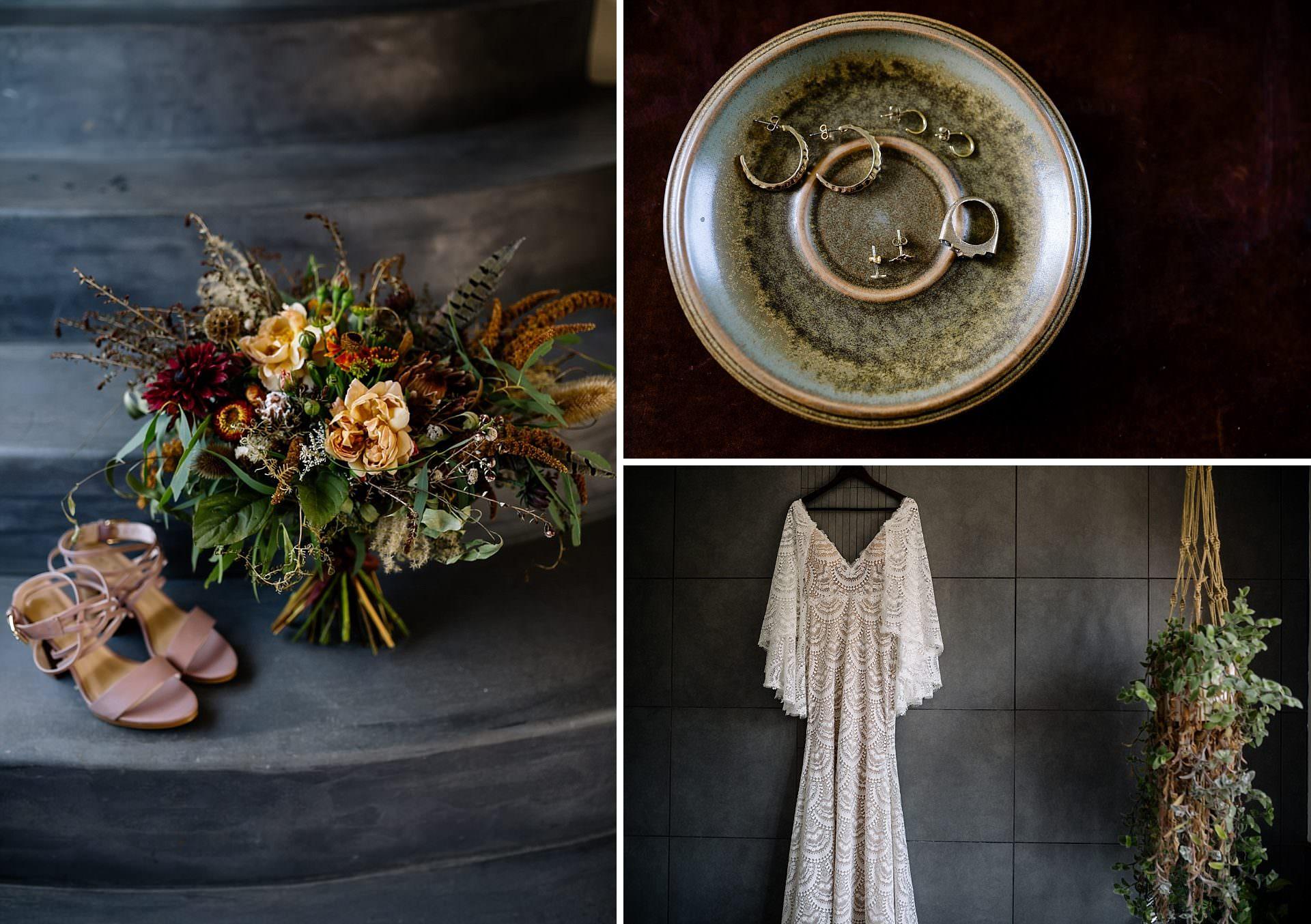 Rustic wedding flowers and Boho wedding dress