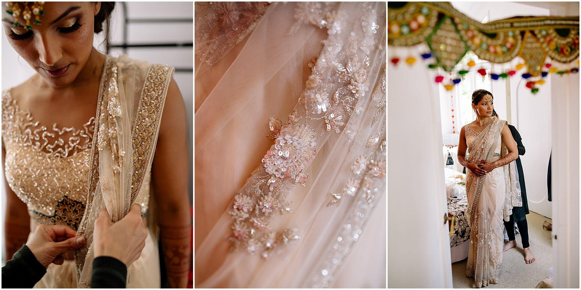 Bride in white wedding saree