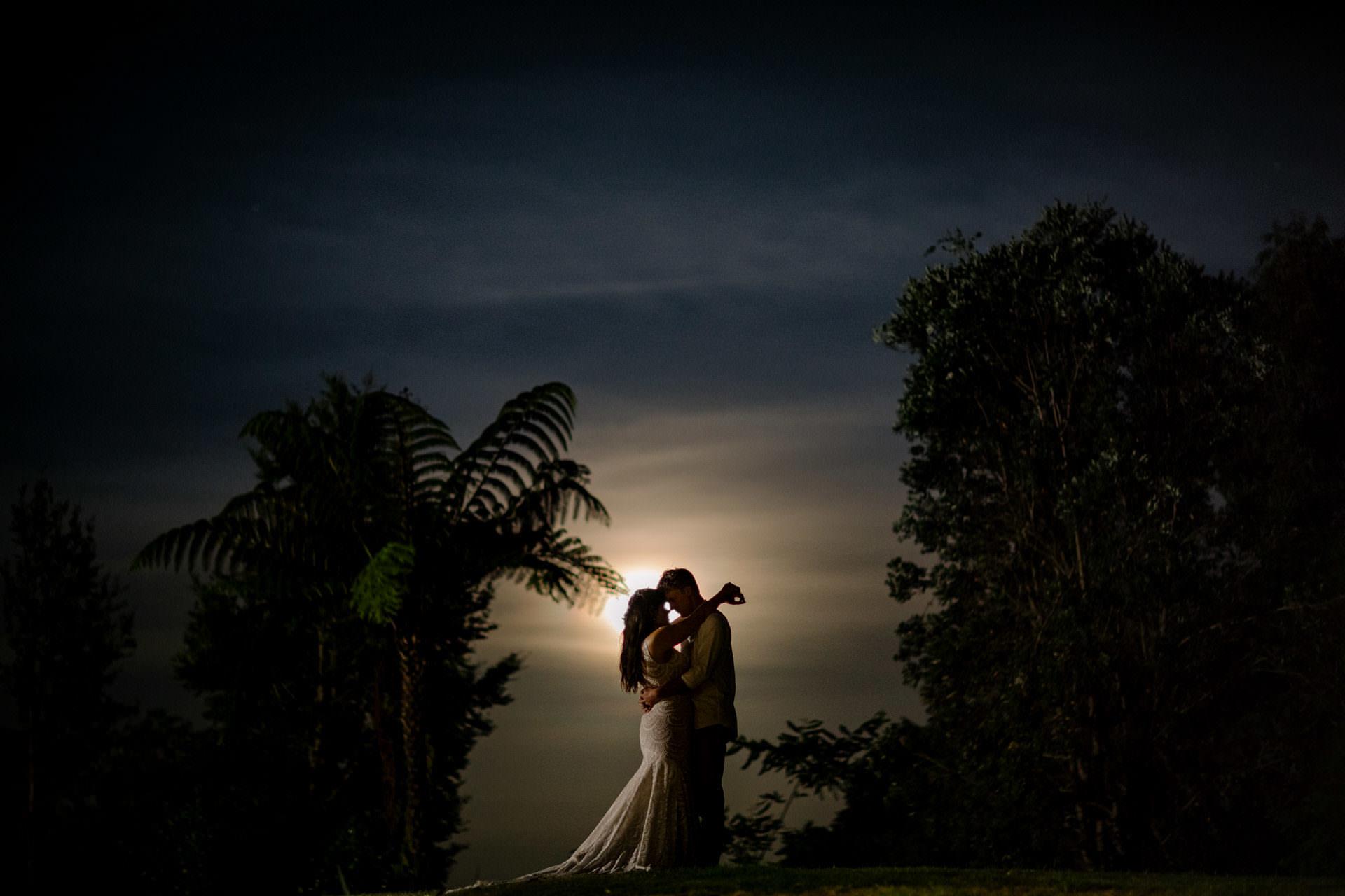 Couple under the moon light