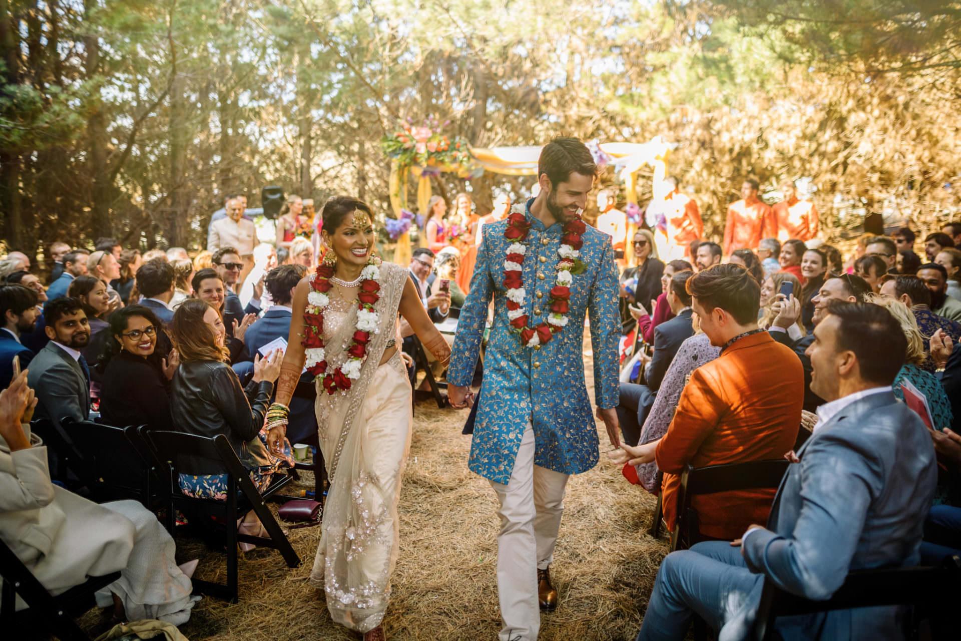 Pencarrow Lodge indian wedding bride groom exit