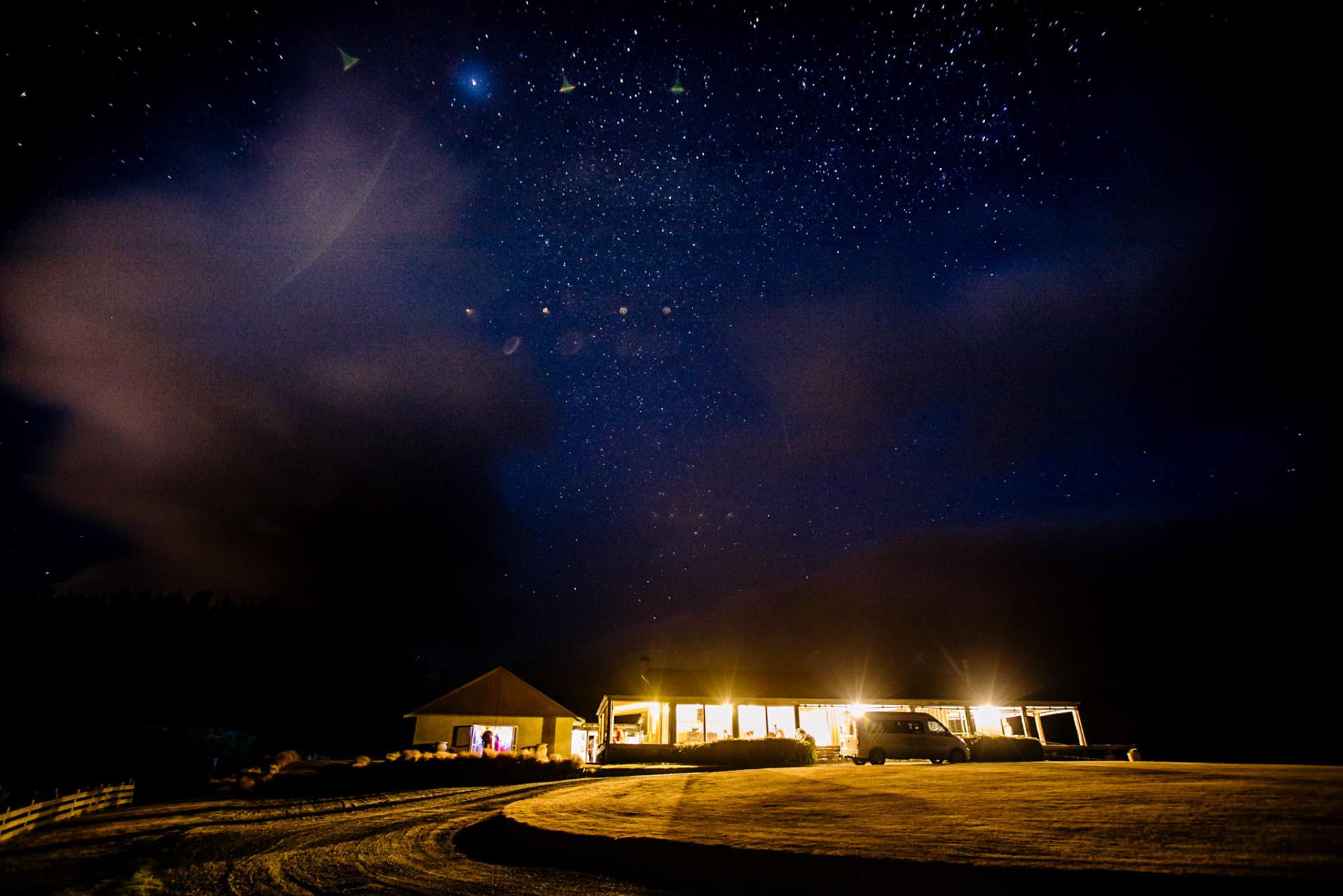 Pencarrow Lodge with stars at night