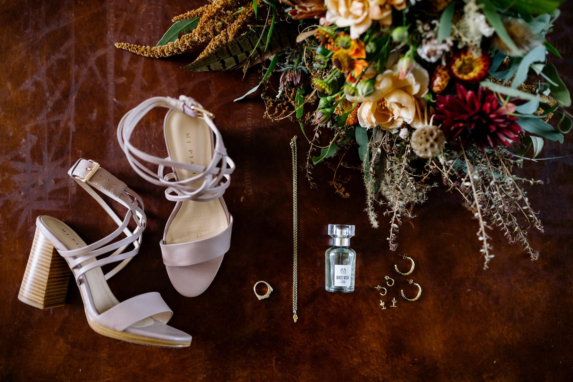 Bride accessories flat lay
