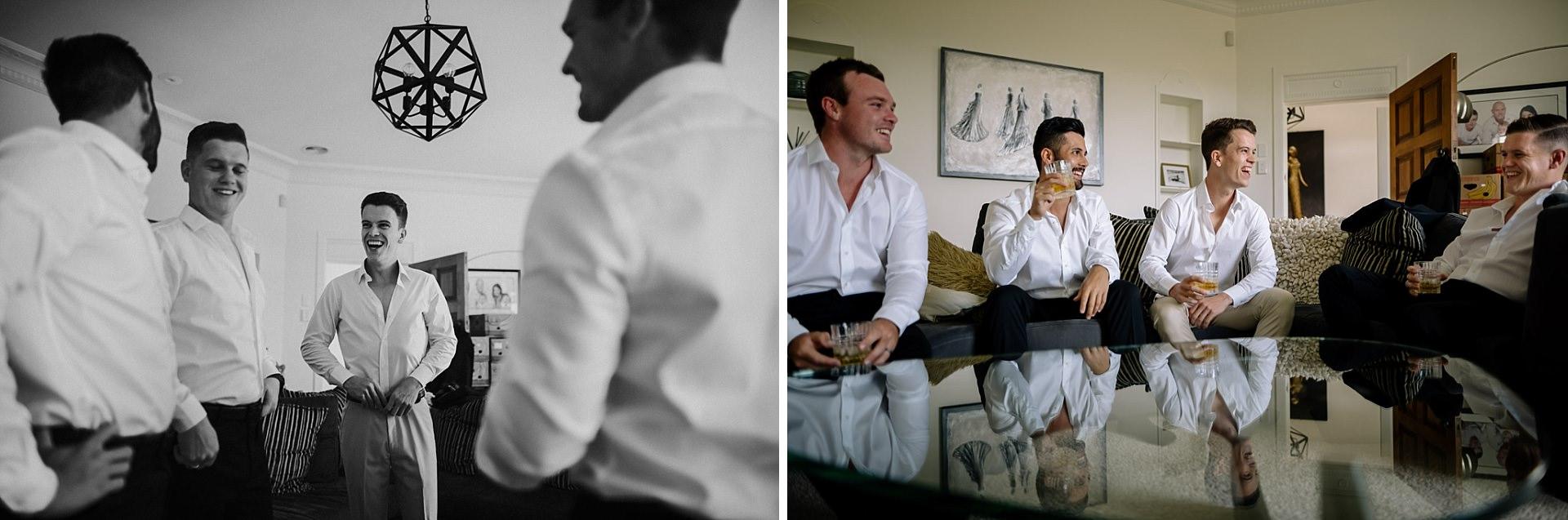 Groom and groomsman whisky photos