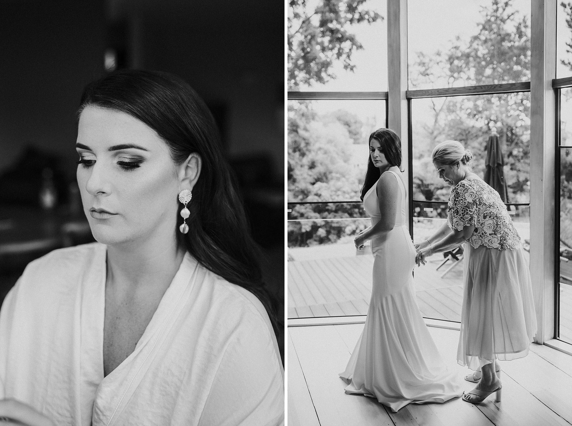 Black and white photos of bride gettting into wedding dress