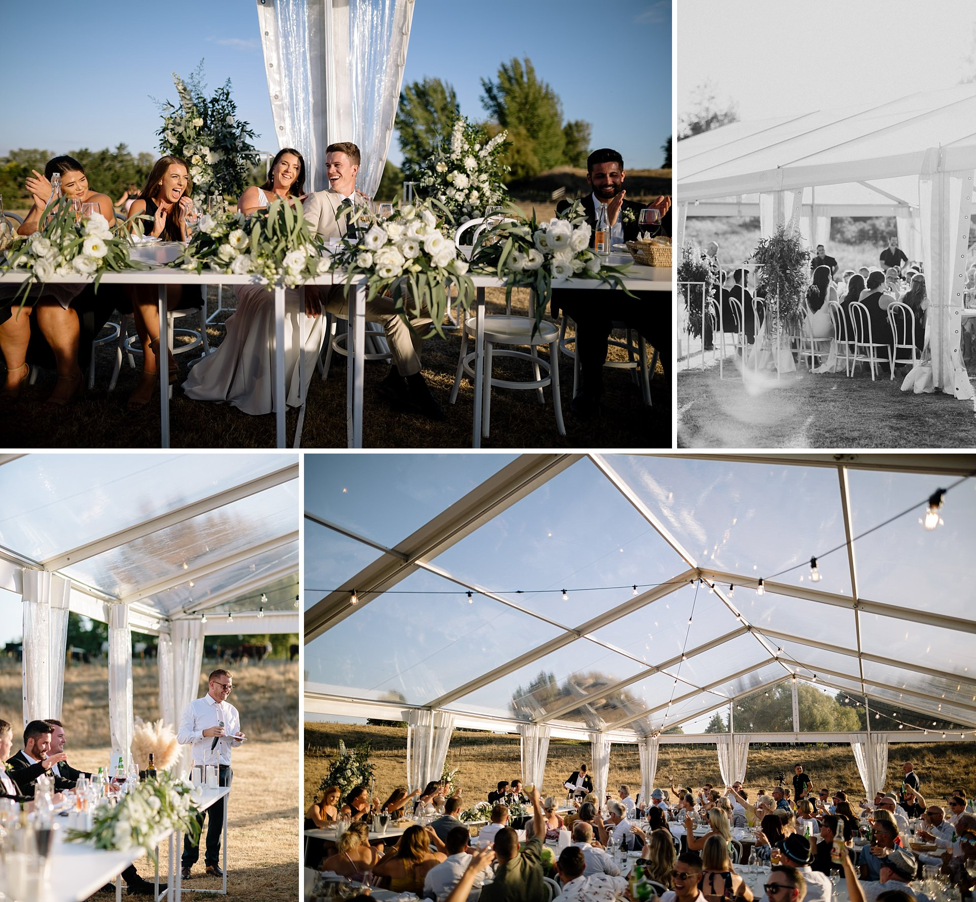 twelve tables clear marquee during Hamilton wedding speeches