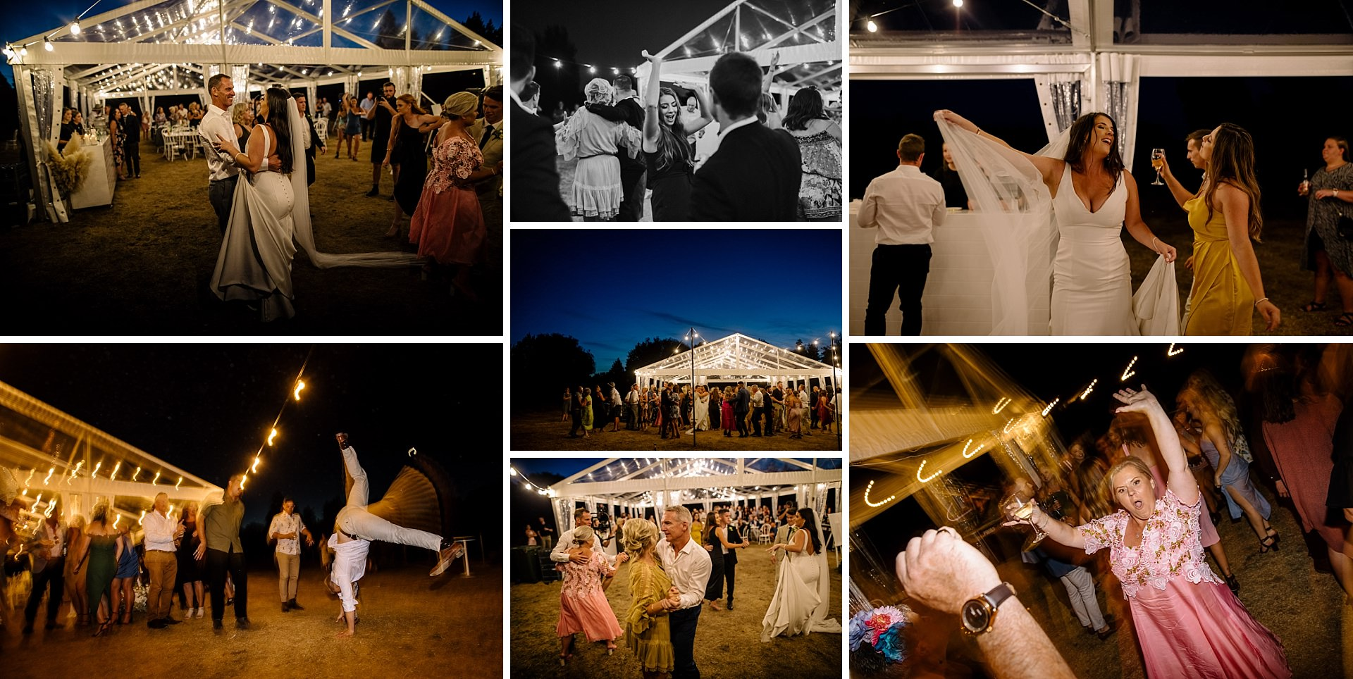 twelve tables clear marquee hamilton wedding party