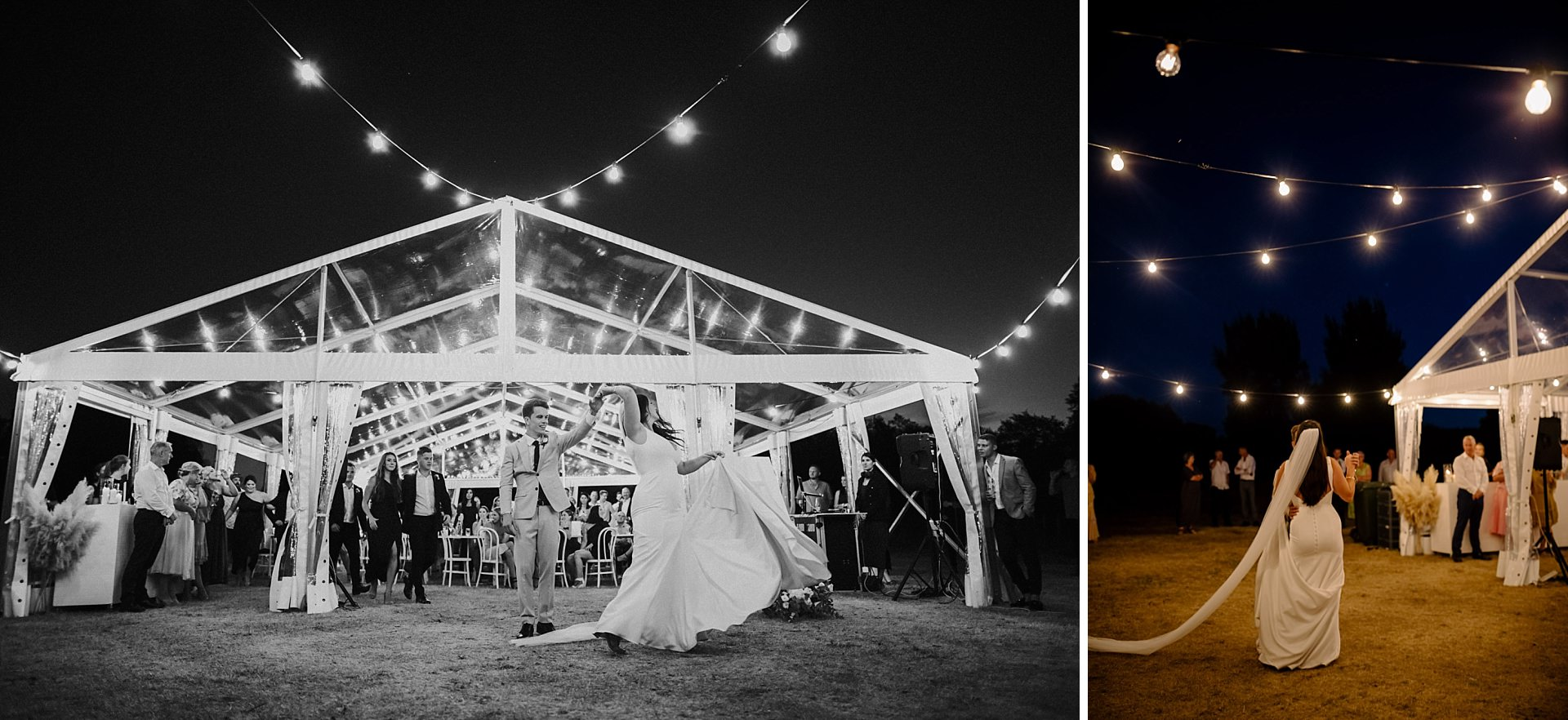 twelve tables clear marquee wedding first dance
